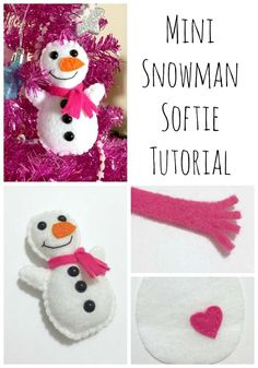 Mini Snowman Softie {Tutorial + Free Pattern} - Felt With Love Designs Felt Snowman, Snowman Crafts, Christmas Projects, Felt Crafts, Holiday Crafts, Snowmen, Diy Crafts, Christmas Ornaments To Make, Christmas Sewing
