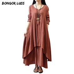 Bongor luss 2017 nova moda feminina dress manga longa solto autumn spring dress cotton linen longo sólida dress vestidos plus size tamanho