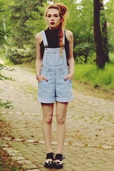 Thrift Store Overalls, River Island Crop Top, Jeffrey Campbell Shoes