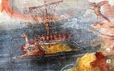 Detail of the fresco from Pompeii, depicting Ulysses who is bound to the mast of his ship so that he cannot jump into the sea, lured by the bewitching song of sirens. The fresco is now in the British Museum.