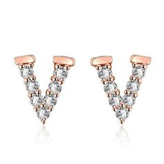Rose Gold Plated V Love Stud Earrings