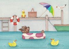 Yorkshire terriers yorkies spend day at seaside by watercolorqueen, $12.99