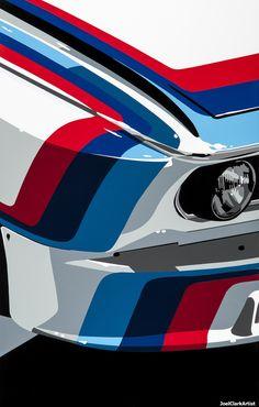 Interview with Automotive Vinyl Artist Joel Clark Bmw Suv, Bmw Cars, Auto Poster, Car Posters, Vintage Racing, Vintage Cars, Automobile, Bmw Classic Cars, Car Illustration