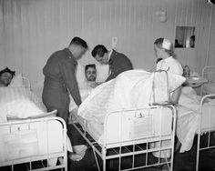 British wounded being treated at a hospital in Namsos by British and French medical officers and a Norwegian nurse. This Day in History:  Apr 9, 1940: Germany invades Norway and Denmark in Operation Weserübung http://dingeengoete.blogspot.com/