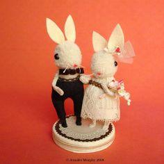 cake topper by Jennifer Murphy Creative Wedding Cakes, Wedding Cake Designs, Jennifer Murphy, Rabbit Cake, Diy Wedding, Wedding Ideas, Perfect Wedding, Wedding Stuff, Dream Wedding