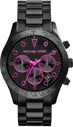 382ebbaaa68 Michael Kors Women s Chronograph Layton Black Ion-Plated Stainless Steel  Bracelet Watch 44mm MK6082 on