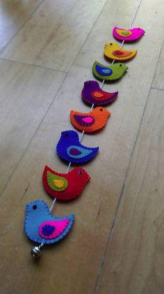 Красочные фетровые птицы настенный (8 птиц)