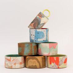 Shape Mugs by Sarah Steininger Leroux – Saltstone Ceramics Ceramic Tableware, Ceramic Mugs, Ceramic Pottery, Pottery Art, Slab Pottery, Pottery Painting, Ceramic Bowls, Ceramic Art, Pots
