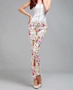 Jeans Summer Autumn Designer Brand Slim Fit Vintage Denim Pencil Skinny Pants Cute floral pant for summer with sandals and top. Actually, floral print always looks nice and attractive.