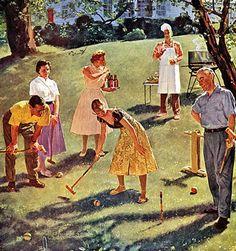 Croquet game at the BBQ Vintage Advertisements, Vintage Ads, Vintage Images, Vintage Prints, Vintage Posters, Vintage Soul, Vintage Paintings, Vintage Heart, Vintage Ephemera