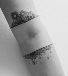 Bicep and forearm landscape tattoos. Tattoo artist: Tara Johnson