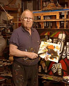 It is estimated he painted over paintings in his lifetime. To prove authenticity of his paintings, he used his own DNA and was the first artist worldwide in 2002 to do so. Australian Icons, Australian Bush, Australian Artists, Australian Painting, Sheep Farm, South Australia, Artist At Work, Art Drawings, Dragonflies