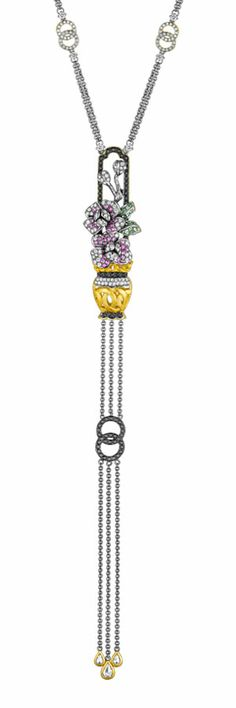 18ct white gold, diamond, sapphire, tsavorite and black rhodium plate Glorious Peony pendant by Dickson Yewn for Annoushka.