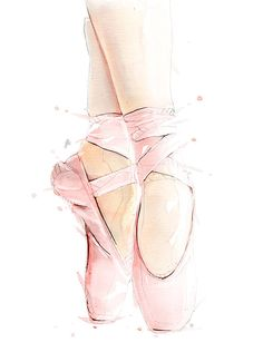 Ballet Shoes. Crisp in detail with bright long lasting colors this print is perfect for framing and mounting on the wall. SIZE: A4-A1 Each print is