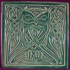 Handmade relief carved ceramic Celtic Owl by earthsongtiles