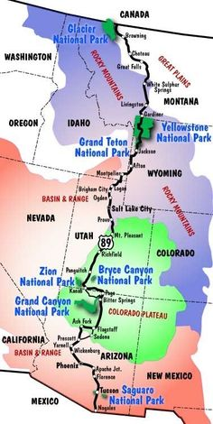 Begin your journey with this introduction to the US Route 89 Road Trip Guides. View the map and select the region and road trip guide for more details. Rv Travel, Adventure Travel, Places To Travel, Places To Go, Travel Gadgets, Yellowstone Nationalpark, Voyage New York, Into The West, Us Road Trip