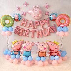 Peppa Pig Birthday Decorations, Peppa Pig Birthday Cake, Kids Party Decorations, Fiestas Peppa Pig, Cumple Peppa Pig, 2nd Birthday Parties, Happy Birthday, Pink Birthday, Peppa Pig Balloons