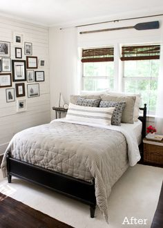 "The Long Striped pillow, Really liking those on the bed rather than several 18"" Square Pillows Our Guest Bedroom- After at The Lettered Cottage"