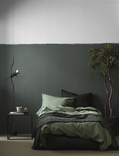 Best bedroom paint colors, Home decor trends Monochrome bedroom, Home decor trends, Bedroom green, Bedroom interior - Calling all colorobsessed decorators You& want to try this saturated trend - Green Rooms, Bedroom Green, Home Bedroom, Olive Bedroom, Bedroom Wall, Bedroom Plants, Bedroom Black, Khaki Bedroom, Bedroom Furniture