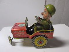 #toys #vintagetoys G I Joe & His Jouncing Jeep Unique Art Mfg. USA Wind Up c 1944 Tin