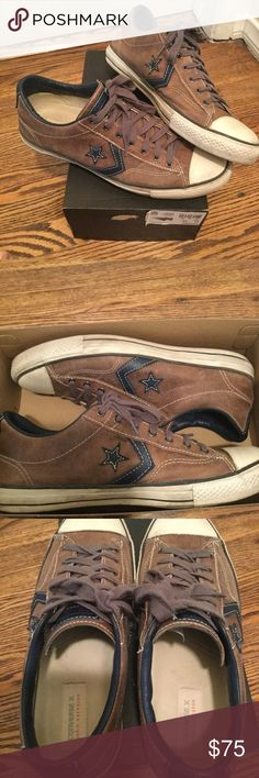 Men's John Varvatos Converse low top- leather Men's John Varvatos Converse low top- leather  Brown leather  $150 retail  11.5 men's  Box is from a size 11 but shoe is 11.5 Converse Shoes Sneakers