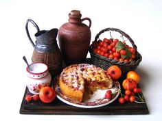Still life with cherry and apple pie