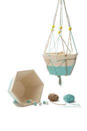 diy macrame pot hanger, NATURAL/BLUE