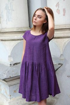 b998646c Purple linen dress for women with drop shoulder sleeves pockets and cute  ruffled details in front and back. Casual summer dress