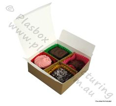 Chocolate Box 4 Cavity Gold Open View