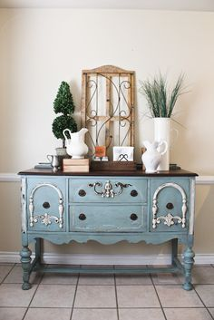 Miss Mustard Seed's Milk Paint and Chalk Paint® decorative paint by Annie Sloan for a classic blue on this antique buffet