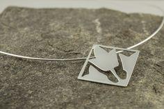 geometric tulip flower necklace pendant in silver by BilberryAndBirch