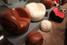 Fun sports chairs. Perfect for a little boys room.   Houston, TX  Gallery Furniture 