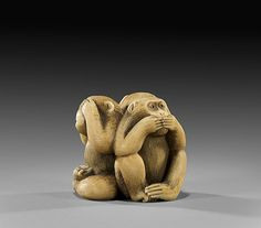 ANTIQUE IVORY NETSUKE: Three Monkeys