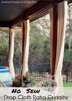 No Sew Drop Cloth Patio Curtains.  Our back patio faces west and even though it's covered, the sun bakes our patio between 2 and 7 pm.  The heat makes it impossible to enjoy our patio until the sun dips below the treeline. We decided to give some simple curtains made from drop cloths a try.