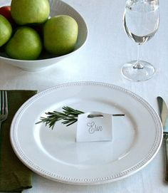 For place cards that double as air fresheners, use a hole punch to stamp out two circles at the top of a rectangular name tag (preferably printed on heavy paper, like card stock). Thread a sprig of rosemary or thyme or other herbs through the holes; fold the tag bottom so it stands up. - GoodHousekeeping.com