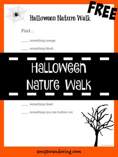 Free Halloween Nature Walk Printable – Keep up with the times. Kindergarten Worksheets, Worksheets For Kids, Halloween Crafts For Kids, Halloween Fun, Nature Study, Home Schooling, Nature Crafts, Walking In Nature, Fun Learning