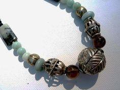 Vintage Yemeni Silver Bead Necklace,  Yeminite Wedding Beads, Handmade Amazonite Necklace