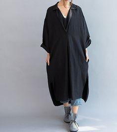 Femmes mal ajustés lin longue robe / asymétrique gris par MaLieb