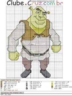 Gráficos ponto cruz da drica: Shrek
