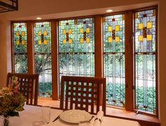 craftsman style homes Stained Glass Windows Inspired by the Frank Lloyd Wright - Gibbons House Design Treatment - DR bay window - Pittsburgh, PA (Pompei & Co.