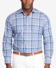 POLO RALPH LAUREN Polo Ralph Lauren Men's Big & Tall Plaid Poplin Shirt. #poloralphlauren #cloth #down shirts