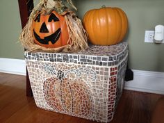 Halloween craft: Mosaic Storage Box  What you need: -An old styrofoam cooler -Elmer's glue -Counter samples -Tile grout -Tin snips -Spatula (to apply grout)  How to make: Using your tin snips, cut shapes in your counter samples. Design a pattern. Glue on counter samples onto styrofoam box. Wait until all are dry. Spread grout with spatula in between tiles. Use a damp rag to wipe clean, wait until all grout is dry.