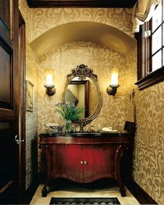 country french style interior powder room with wallpaper and wall sconces and ornate mirror : Country French Style Interior Powder Room. french country powder room,french style powder room,ideas for powder rooms,powder room ideas,powder room style ideas Powder Room Decor, Powder Room Design, Powder Rooms, Red And Gold Wallpaper, Of Wallpaper, Bad Inspiration, Bathroom Inspiration, Bathroom Ideas, Bathroom Designs
