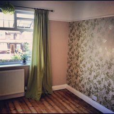 Bedroom finished, curtains up and orchid in.