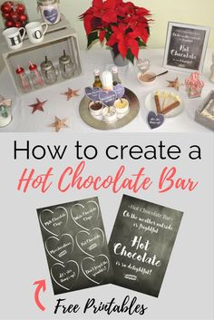 Easy Hot Chocolate Bar ideas and free printables. Perfect for a Christmas party or for weddings.