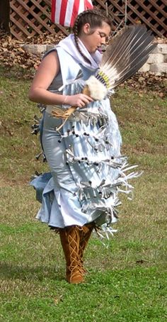 The Jingle Dress dance is native to the west, but adapted for Catawba culture. It's a healing dance he said. It comes from the story about a man who prayed to the Creator to heal his daughter.