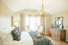 Ava Gold Chandelier | The Magnolia Market. Love this whole bedroom. So classic and bright.