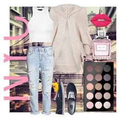 """""""Spring in the City"""" by thebollings on Polyvore featuring Free People, Topshop, H&M, Vans, MAC Cosmetics, Christian Dior, Lime Crime, Pink, vans and jeans"""