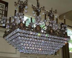 Rectangular shaped crystal chandelier...