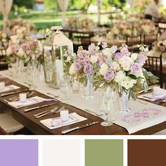 Lavender + Off White + Sage + Chocolate  Read more: New Wedding Color Combos for 2014 http://wedding.theknot.com/wedding-colors/choosing-wedding-colors/articles/wedding-color-combinations.aspx?page=11#ixzz2qIx5Cp8o